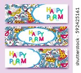 purim colorful banners... | Shutterstock .eps vector #592425161