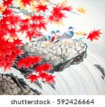chinese traditional painting of ... | Shutterstock . vector #592426664