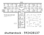 standard hotel  hostel ... | Shutterstock .eps vector #592428137