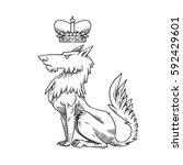 vector image of a heraldic wolf ... | Shutterstock .eps vector #592429601