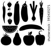 vegetables  fruits and berries  ... | Shutterstock .eps vector #592435271