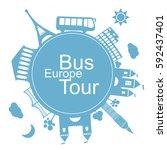 europe bus tours design... | Shutterstock .eps vector #592437401