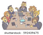 casual business meeting with... | Shutterstock .eps vector #592439675