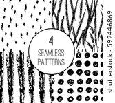 set of seamless hand drawn...   Shutterstock .eps vector #592446869