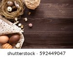 happy easter. easter eggs and... | Shutterstock . vector #592449047