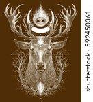 Deer Head. Graphic Illustratio...