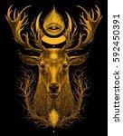 deer head. graphic color... | Shutterstock . vector #592450391