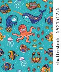 vector seamless pattern with... | Shutterstock .eps vector #592451255
