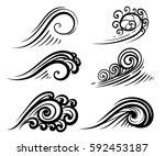 wave collection ocean or sea... | Shutterstock .eps vector #592453187