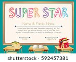 certificate template for super... | Shutterstock .eps vector #592457381