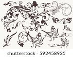 collection of vector vintage... | Shutterstock .eps vector #592458935