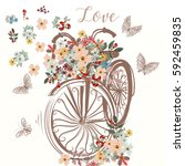 cute fake hand drawn bicycle... | Shutterstock .eps vector #592459835