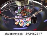 colourful lottery balls in a... | Shutterstock . vector #592462847