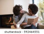 young beautiful multiethnic... | Shutterstock . vector #592464551