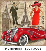 vintage poster paris london... | Shutterstock .eps vector #592469081