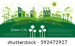 green eco city living concept. | Shutterstock .eps vector #592472927