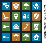 protect icons set. set of 16... | Shutterstock .eps vector #592476695