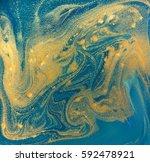 blue  green and gold liquid... | Shutterstock . vector #592478921