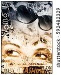 woman's eyes on grunge... | Shutterstock . vector #592482329