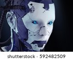 The Head Of A Cyborg On A Blac...