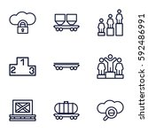platform icons set. set of 9... | Shutterstock .eps vector #592486991