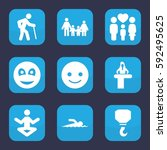 figure icon. set of 9 filled... | Shutterstock .eps vector #592495625