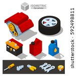 car repair  parts  tools  icons ... | Shutterstock .eps vector #592498811