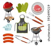 set of barbecue utensils and... | Shutterstock .eps vector #592499219