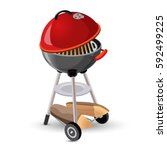 portable round barbecue with... | Shutterstock .eps vector #592499225