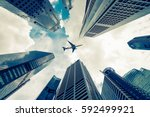 central business district in... | Shutterstock . vector #592499921