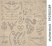 calligraphic illustration set... | Shutterstock .eps vector #592502189