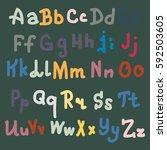 hand drawn alphabet. brush... | Shutterstock .eps vector #592503605