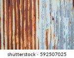 old metal sheet roof texture.... | Shutterstock . vector #592507025