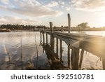 wooden pontoon on auzance river ... | Shutterstock . vector #592510781