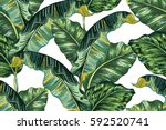 Stock vector tropical palm leaves jungle leaf seamless vector floral pattern background 592520741