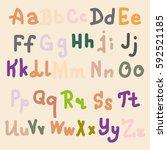 hand drawn alphabet. brush...   Shutterstock . vector #592521185