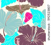 floral pattern on neutral... | Shutterstock . vector #592523807