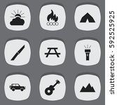 set of 9 editable trip icons.... | Shutterstock .eps vector #592525925