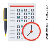 exam or test icon with document ... | Shutterstock .eps vector #592526114
