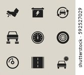 set of 9 editable transport... | Shutterstock .eps vector #592527029