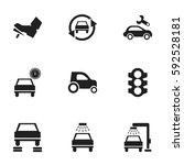 set of 9 editable vehicle icons.... | Shutterstock .eps vector #592528181
