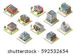 isometric buildings set.... | Shutterstock . vector #592532654