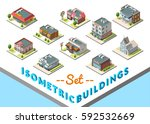 isometric buildings set.... | Shutterstock . vector #592532669