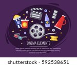 cinema elements. movie... | Shutterstock .eps vector #592538651