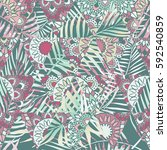 seamless pattern with tropical... | Shutterstock .eps vector #592540859