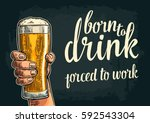 male hand hold glass beer. born ... | Shutterstock .eps vector #592543304