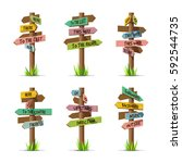 colored wooden arrow signboards ... | Shutterstock .eps vector #592544735