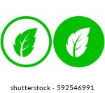 two icons with green leaf... | Shutterstock . vector #592546991