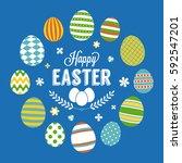 happy easter typographic poster ... | Shutterstock .eps vector #592547201