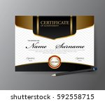 certificate template a4 size... | Shutterstock .eps vector #592558715